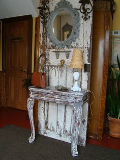 Make a Hall Tree With an old Door And Table.