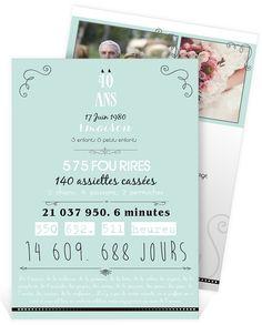 Invitation anniversaire de mariage sous le thème du souvenir et du romantisme pour vos 40 ans de mariage, ref N24186