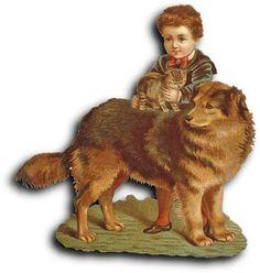 Victorian Scrap: kid, dog and cat