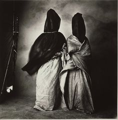 A 1971 image by Irving Penn of two Moroccan women, Guedras in the Wind, a platinum-palladium print. Penn played obsessively with print-makin...
