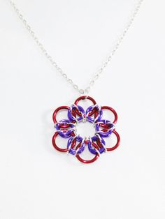 Chainmail Pendant Necklace Purple Pendant by VeeVeesCreations