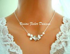 Callie - Falling White Gold Orchid and pearl necklace