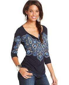 Lucky Brand Jeans, Three-Quarter Scoop-Neck Printed Tee - Womens Tops - Macy's