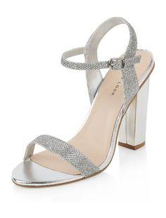 Silver Glitter Ankle Strap Block Heels | New Look