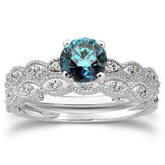 .65CT Vintage Blue & White Diamond Engagement Ring Set 14K White Gold Antique #Pompeii3Inc
