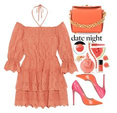 """""""Summer date night"""" by simona-altobelli ❤ liked on Polyvore featuring Carvela, Alexander McQueen, Valentino, Elizabeth Arden, Kate Spade, Marc Jacobs, MyStyle, polyvorecontest, summerdate and coolcoral"""