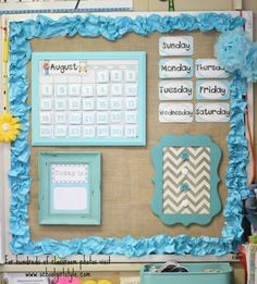 Color combo and patterns.  Beach Ocean classroom decorating / decor Jennifer White - First Grade Blue Skies www.schoolgirlstyle.com