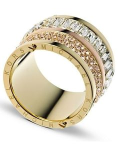Michael Kors Ring, Gold Tone Pave and Stone Barrel Ring - Fashion Jewelry - Jewelry