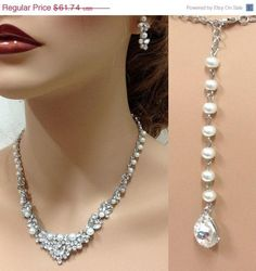 ❘❘❙❙❚❚ ON SALE, 5 OFF entire shop for a limited time ❚❚❙❙❘❘     Tania -Wedding jewelry set, Bridal back drop necklace and earrings, vintage