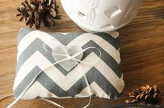 Modern grey white/ivory chevron wedding ring pillow with heart detail, ring bearer.. $30.00, via Etsy.  (basket with matching liner for flower girl)