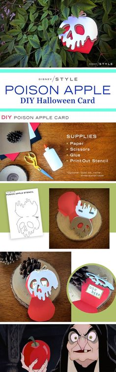 DIY Poison Apple Halloween Card | One bite of this Snow White-inspired Halloween craft, and all your DIY dreams will come true! | Seasonal Disney stationery inspiration | [ http://di.sn/60088DmSE?utm_content=buffer4f02c&utm_medium=social&utm_source=pinterest.com&utm_campaign=buffer ]: