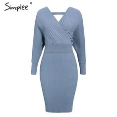 HOOUDO Dresses for Women Elegant,Sale Autumn Warm High Neck Long Sleeve Solid Long Shirt Pullover Mini Sweater Dresses Party