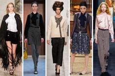 Fall 2015 Trends: PUSSY BOWS - From left to right: Emilio Pucci, Orla Kiely, A Detacher, Chanel and Bottega Veneta.