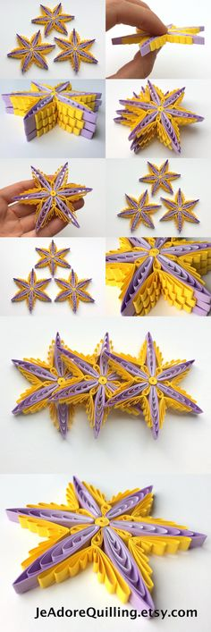 Snowflakes Yellow Purple Christmas Tree Decoration Winter Ornaments Gifts Toppers Fillers Office Corporate Paper Quilling Quilled Art