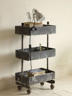 Industrial - turn old wooden crates into a rolling trolley. Industrial Trolley, Industrial House, Industrial Interiors, Industrial Furniture, Vintage Industrial, Industrial Style, Industrial Industry, Industrial Storage, Vintage Bar