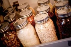 our new house :: mason jar pantry – the rigneys Mason Jar Kitchen, Mason Jar Meals, Ball Mason Jars, Spice Storage, Spice Organization, Organizing, Kitchen Storage, Food Storage, Pantry Organisation