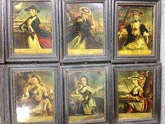 A set of twelve 18th century coloured mezzotints on glass,