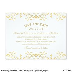 Wedding Save the Date Cards | Gold Vintage Glamour