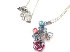 Handmade Wire Wrapped Clay Flowers Jewelry от DragonflyHJewellery