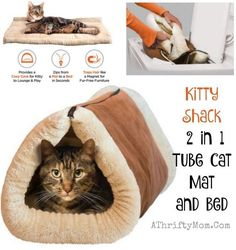 Pet owners gift ideas cat beds cat toys Kitty Shack tube and cat mat in one cat tips and hacks Popular gifts for catsCat Hacks – Kitty Shack 2 in 1 Tube Cat Mat and Bed Our cats love to crawl into small places and they also love to sprawl out on an Niche Chat, Cat Hacks, Cat Mat, Ideal Toys, Super Cat, Cat Accessories, Small Cat, Pet Rabbit, Cat Furniture