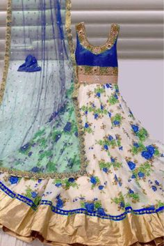 Gorgette Party Wear Anarkali Suit in Blue and White Colour.It comes with matching Duapatta and Bottom.It is crafted with Printed...