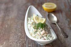 Katkarapusalaatti My Recipes, Salad Recipes, Recipies, Happy Foods, Couscous, Potato Salad, Tapas, Brunch, Food And Drink