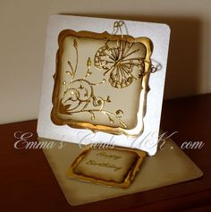 Emmas Cards UK: Memory Box Dies  stunning way to use gold foil card stock! madera corner and vivienne butterfly