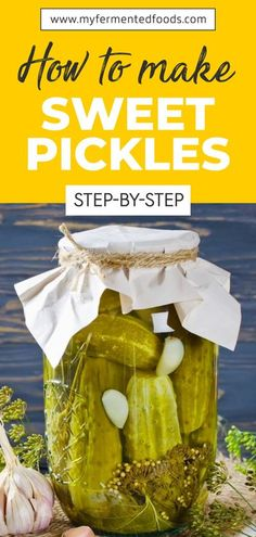 Sweet pickles are delicious on their own or as part of a salad or meat accompaniment. Check out my recipe to see how you can easily and quickly make sweet pickles at home: . . . #MyFermentedFoods #SweetAndSour #Fermentation #Ferment #FermentedFoods #Recipes #Food #Pickles #SweetPickles Easy Sweet Pickles Recipe, Best Sweet Pickle Recipe, Canning Sweet Pickles, Fermentation Recipes, Canning Recipes, My Recipes, Vegan Recipes, Summer Recipes, Recipies