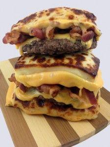 Bread cheese bacon double burger