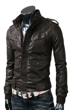 handmade Men Dark brown Leather Jacket, Men stylish slim dark Brown leather jacket with front flap and flap pockets