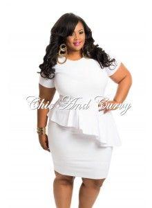 .           Outlet Plus Size Bodycon Slanted Peplum Dress In White 1x 2x 3x