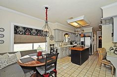Black, White, Red, gray/silver kitchen