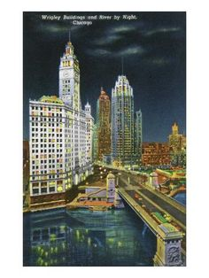 size: Art Print: Chicago, Illinois, Exterior View of the Wrigley Buildings and Chicago River at Night by Lantern Press : Chicago At Night, Chicago River, Chicago Landscape, Skyline Image, Chicago Photos, Futuristic City, Building Art, National Parks, Art Prints