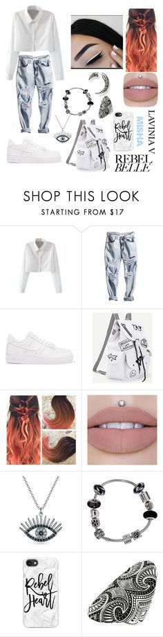 """misha rebel girl school"" by lavinia-voin ❤ liked on Polyvore featuring WithChic, NIKE, Bling Jewelry, Pandora, Casetify and Thomas Sabo"