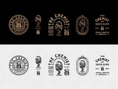 Branding design for The Chemist. Craft distillery specializing in handmade spirits inspired by local ingredients.