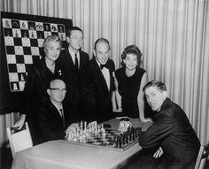 Photographer unknown, Samuel Reshevsky, Jacqueline Piatigorsky, an Unidentified Figure, Jose Ferrer, Lina Grumette and Bobby Fischer ..