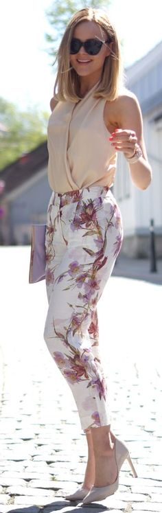 Floral Print Trousers heels sunglasses cream top summer outfit women apparel fashion style street