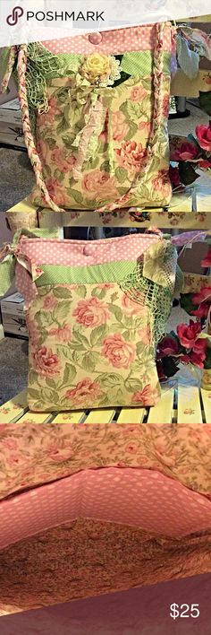 X large Shabby chic doily crossbody NWOT Very pretty shabby chic bag with handmade doily on side and beautiful shabby flower in middle Bag is handmade NWOT Bags Crossbody Bags