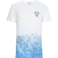 Blue faded New York City print t-shirt £14.40