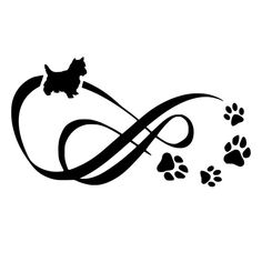 Yorkie Infinity With Paw Prints Die-Cut Decal Car Window Wall Bumper Phone Laptop