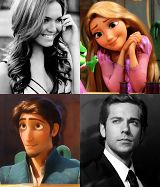 Voice actors for Rapunzel (Mandy Moore) and Flynn (Zachary Levi)