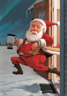 Santa dashing out the door with his coffee