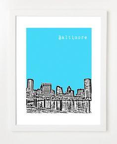 Baltimore Skyline Poster - Art City Skyline Print-  8x10 Art Print. $20.00, via Etsy.