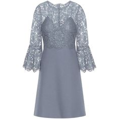 Valentino Lace-Trimmed Wool and Silk Dress (38.069.670 IDR) ❤ liked on Polyvore featuring dresses, blue, day dresses, short dress, blue dress, blue silk dress, blue mini dress, blue wool dress and lace trim dress