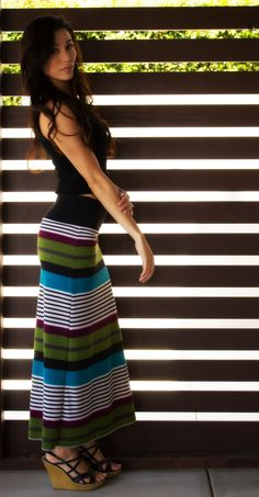 Striped Colorful Maxi Skirt with Fold Over Yoga Waistband- The Stacy Maxi Skirt - Eclectic Couture