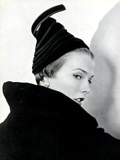 """Trouble was on her mind"" when she wore this hat by Paulette, photo by Horst, 1949. A find from @Carmelita Caruana"