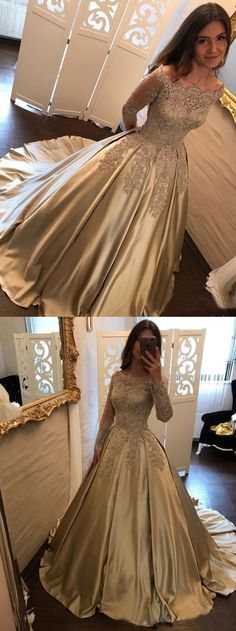 luxury bateau long sleeves prom dress with lace, elegant champagne satin party dress with lace, princess ball gown prom dress with beading