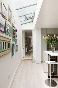 Modern extension to a house in Putney. The use of roof lights allow a deeper plan while keeping the ground floor bring and airy. Roof Light, Open Plan Living, Ground Floor, Living Area, Stairs, Flooring, Lights, How To Plan, Modern