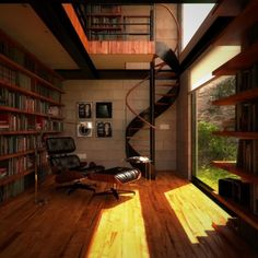 Okay I love the wood and the stairs and the big open window adds so much to the library!