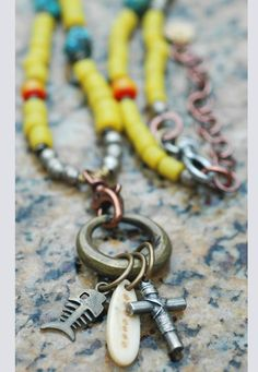Long Yellow Glass, Turquoise and Mixed Metals Tribal Charm Necklace Tribal Necklace, Tribal Jewelry, Beaded Necklace, Gold Jewelry, Yellow Jewelry, Jewellery, Glass Jewelry, Pendant Necklace, Silver Necklaces